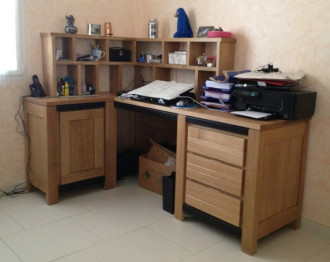 Bureau bois massif moderne u design à la maison