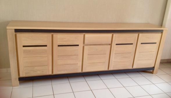 Bas moderne 5 portes 1 tiroir avec inserts portes et bandeaux laqués gris ceram,en 276x54xh 97